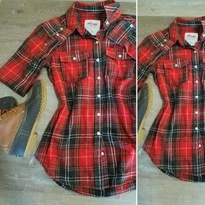 Red & black flannel button down top